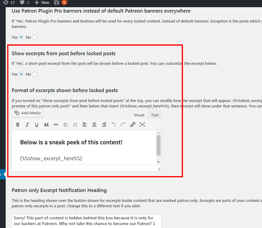How to Show Excerpts before Locked Posts with Patron Plugin Pro